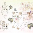 Cats and butterflies — Image vectorielle