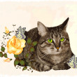 Vintage greeting card with cat — Imagen vectorial