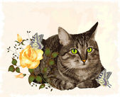 Vintage greeting card with cat — Stock Vector