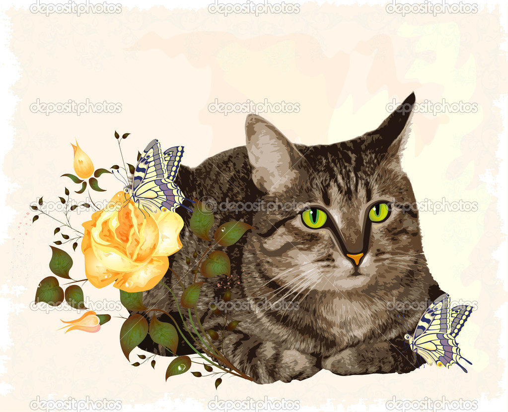 Кошки на открытках фото