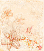 Sepia floral background with butterflies — Stock Vector