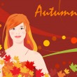 Stock Vector: Girl and autumnal leaves