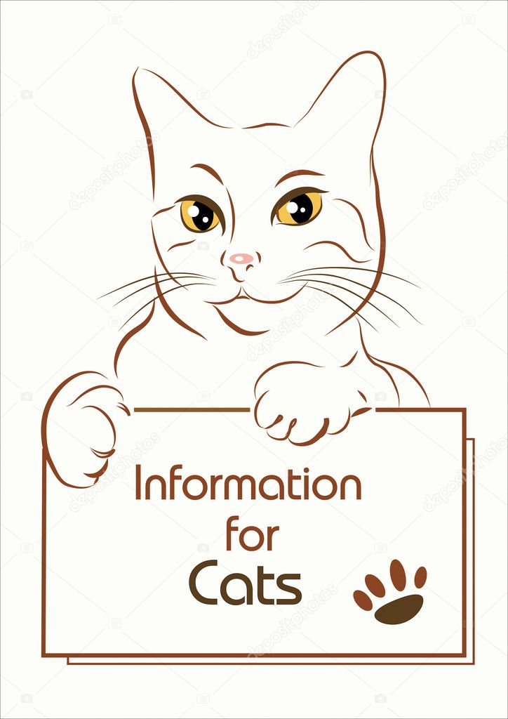 Adorable outline cat holding banner  Stock Vector #3769055