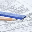 Engineering building plans - Stock Photo