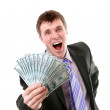 Shouting businessman holds money in hands — Stock Photo