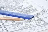 Engineering building plans — Stock Photo