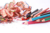 Pencils in an environment shavings — Stockfoto