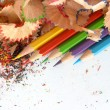 Stock Photo: Pencils in environment shavings