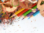 Pencils in an environment shavings — Stock Photo