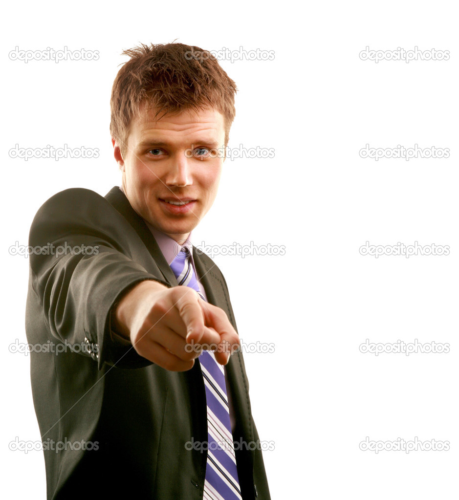 A young business man, pointing index finger — Stock Photo #2712969