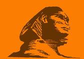 Vector illustration of the sphinx on orange background — Stock Vector
