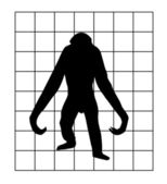 Vector silhouette of the gorilla in hutch on white background — Stock Vector