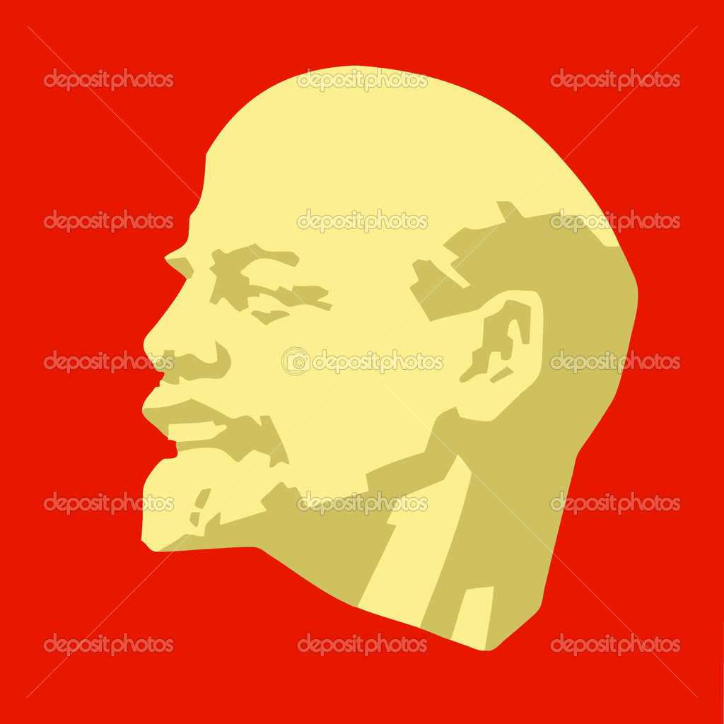 Silhouette of the lenin on red background — Stock Vector #3879826