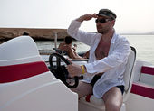 Captain on the boat — Stock Photo