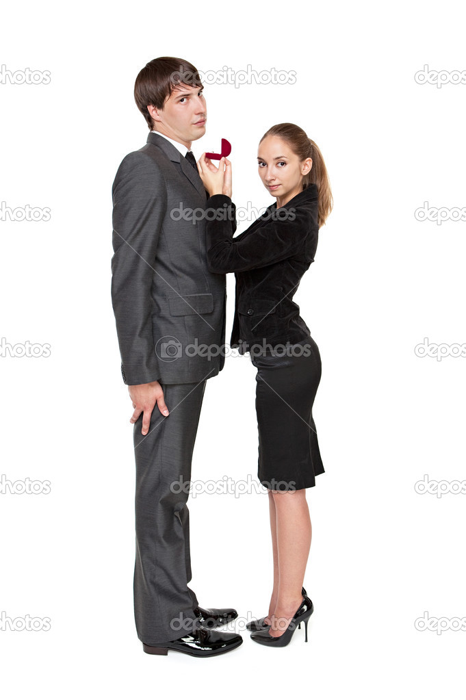 Strong girl invites a young man to marry. — Stock Photo #3584553