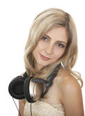 Beautiful girl with headphones. — Photo