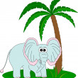 Elephant and the palm - Stock Vector
