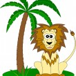Lion and the palm - Stock Vector