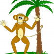 Monkey under the palm - Stock Vector