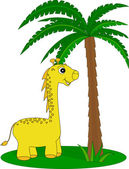 Giraffe and the palm — Stock Vector