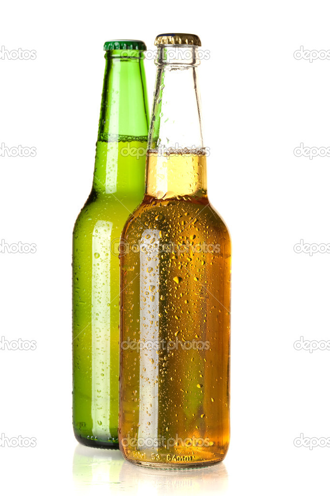 Beer collection - Two beer bottles. Isolated on white background — Stock Photo #2914375
