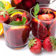 Stock Photo: Two glasses of fresh fruit sangria
