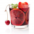 Refreshing fruit sangria with strawberry, orange and cherry — Stock Photo