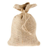 Canvas sack isolated on white — Stock Photo