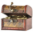 Wooden casket full of coins — Stock Photo #2910306