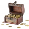 Wooden casket full of coins — Stock Photo #2910342