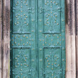 Old metal green door — Stock Photo
