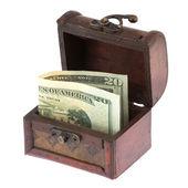 Twenty dollars banknote in old casket — Stock Photo