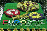 Logo of Euro-2012 football championship. Lviv, Ukraine — Stock Photo