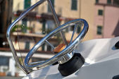 Motorboat steering wheel — Stock Photo