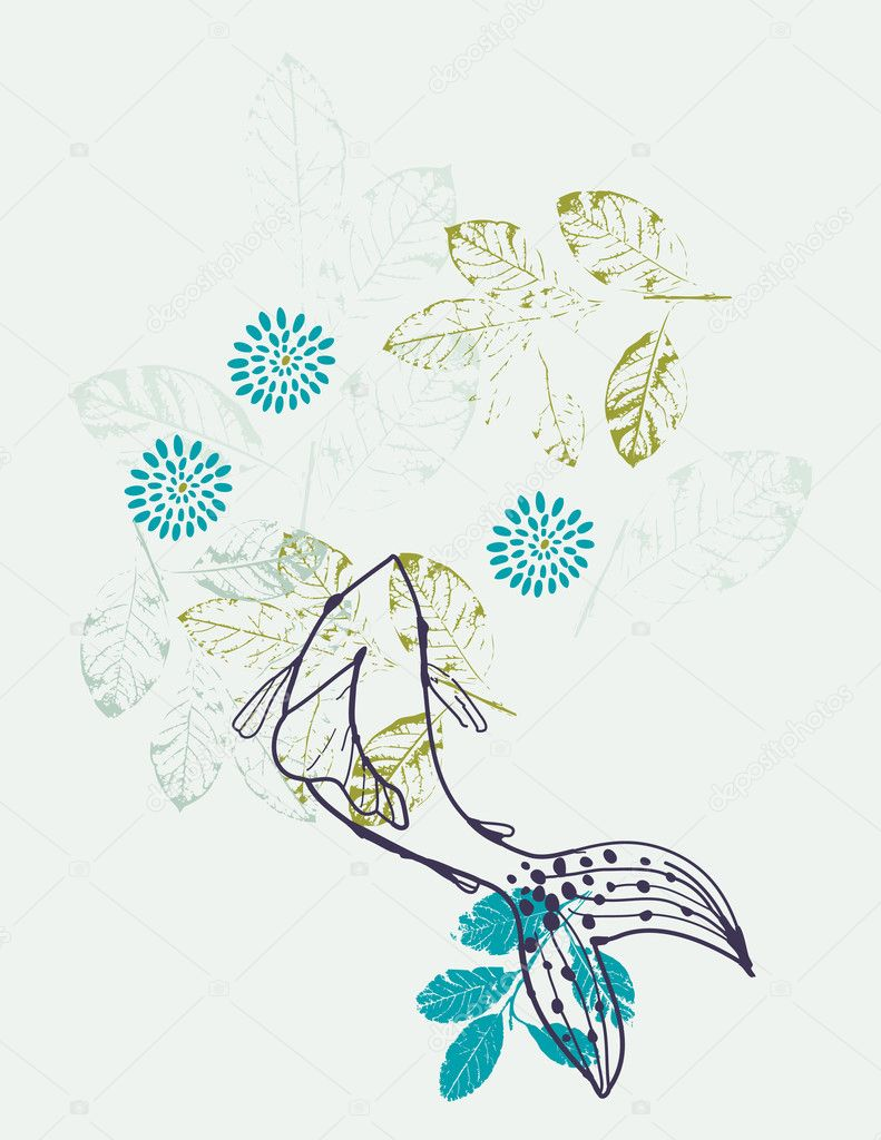 Vector floral graphic featuring a koi fish  Stock Vector #3014900