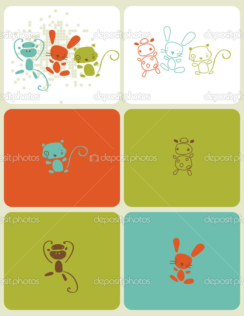 Vector graphic set showcasing little baby animals in vivid colors — Stock Vector #3021202