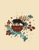 Ciervos en la puesta del sol ii — Vector de stock