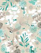 Botanik bahçesi ve ufak arkadaş ii — Stok Vektör