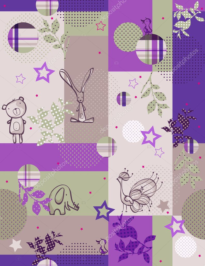 Vector seamless pattern displaying vintage baby animals.  Stock Vector #3049725