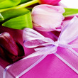 Pink tulips and gift box — Stock Photo #2766777