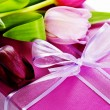 Pink tulips and gift box — Stockfoto #2766777