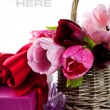 Royalty-Free Stock Photo: Pink tulips and gift boxes