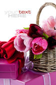 Pink tulips and gift boxes — Stock Photo
