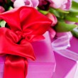Pink tulips and gift boxes — Photo