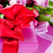 Pink tulips and gift boxes — Stok fotoğraf
