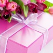 Pink tulips and gift box — 图库照片 #2994756
