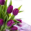 Pink tulips and gift box — Stock fotografie