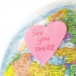 Stock Photo: Earth globe and paper heart