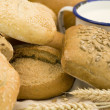 Stock Photo: Fresh bread and milk