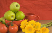 Red, yellow, green- healthy still life — Stock Photo